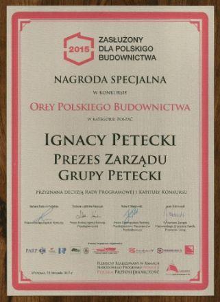 """151203petecki4 - PETECKI zdobywa: """"Zasłużony dla Polskiego Budownictwa"""" i """"Orzeł Polskiego Budownictwa"""""""