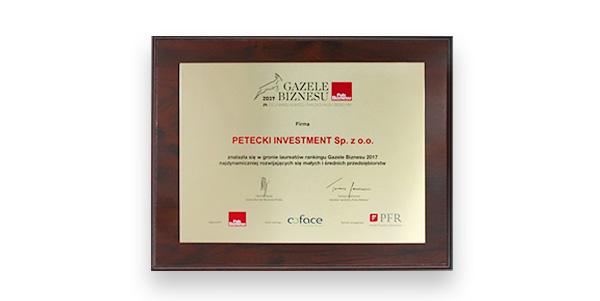 Firma PETECKI wyróżniona nagrodą GAZELE BIZNESU 2017